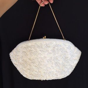 White and Ivory Beaded Clutch